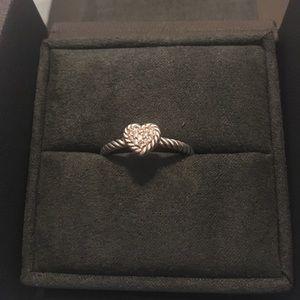 David Yurman 8MM Chatelaine Petite Pave Heart Ring